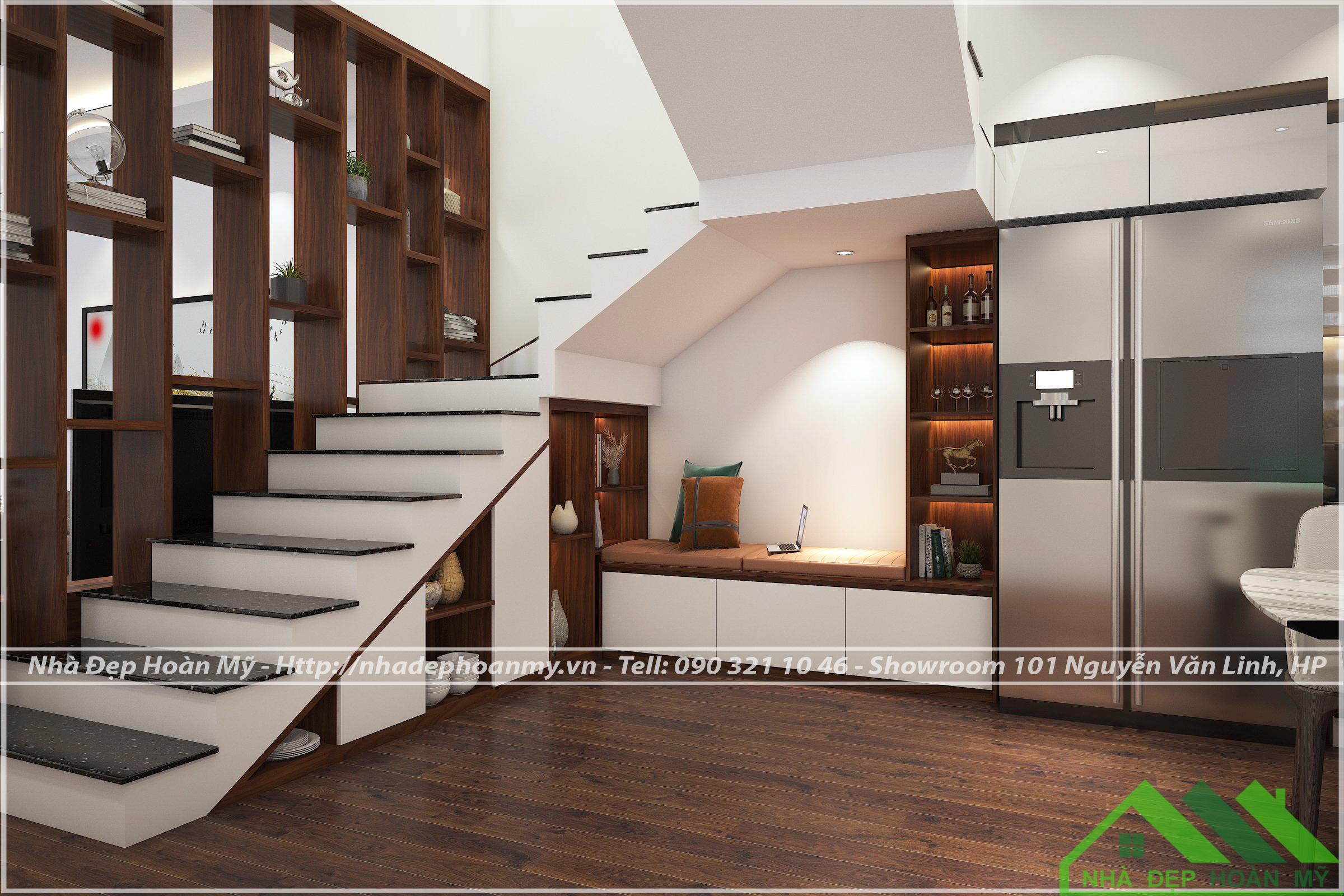 Tủ bếp kết hợp tủ gầm cầu thang