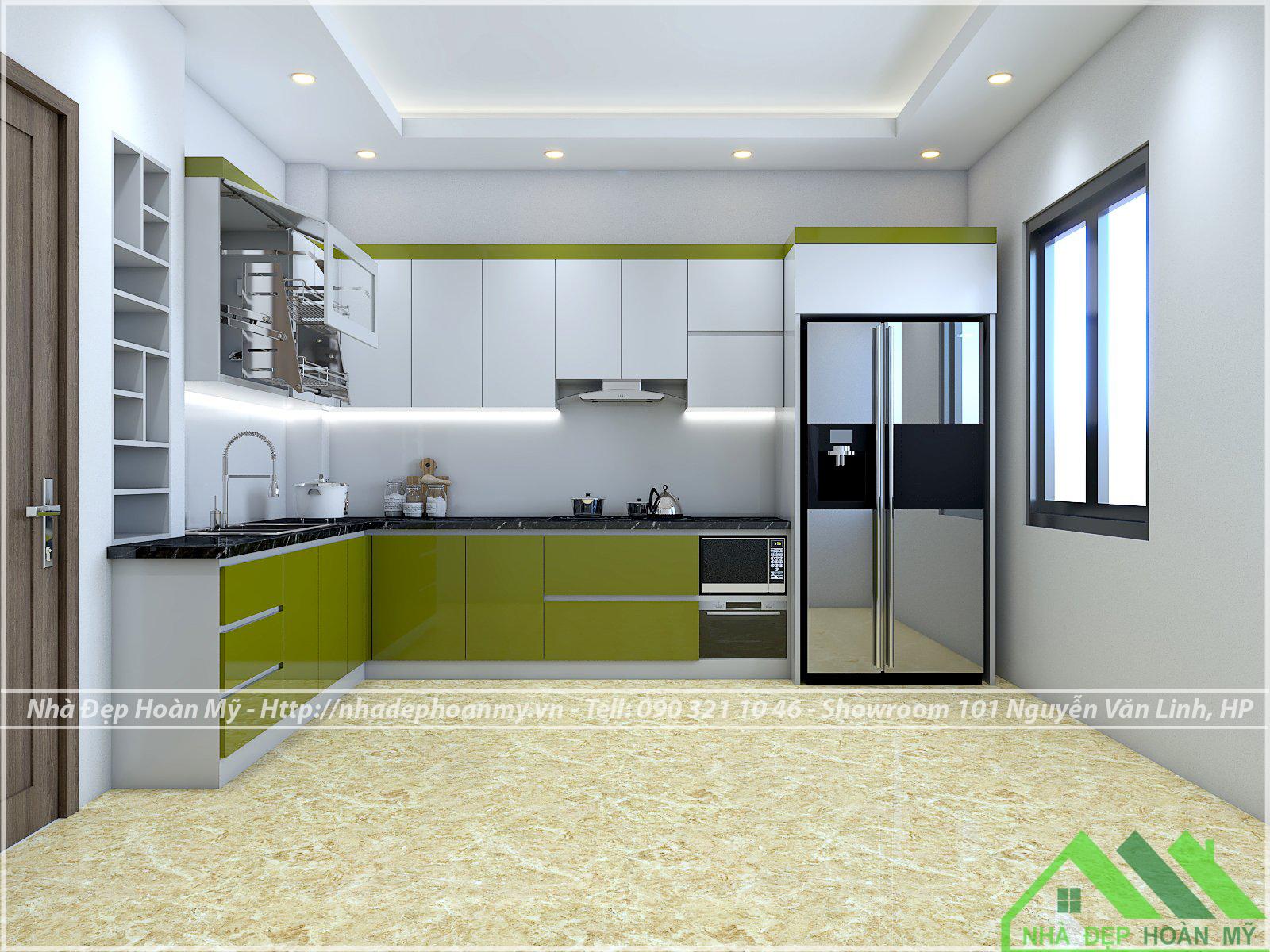 Tủ bếp nhựa Acrylic xanh cốm cao cấp