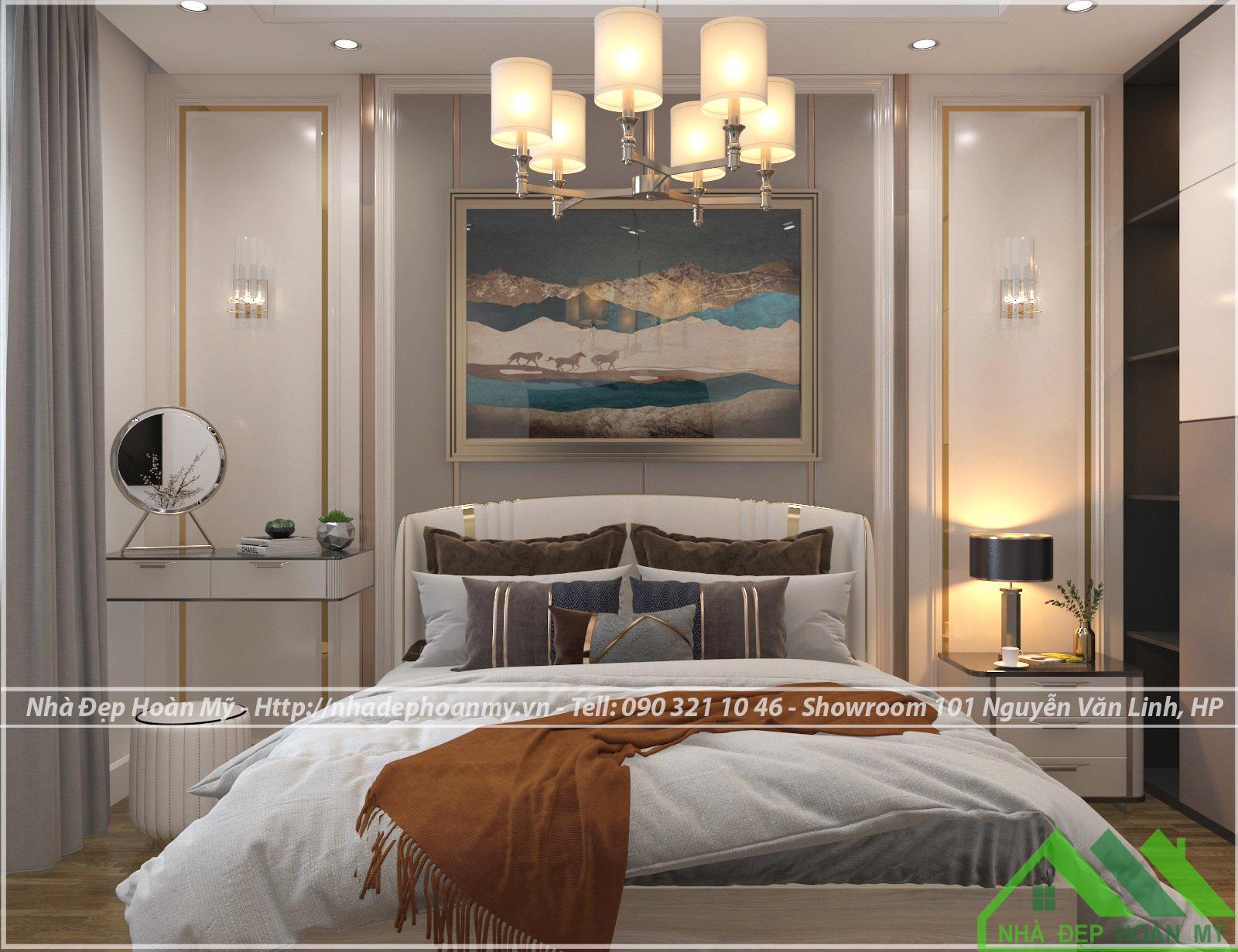 Phòng ngủ với giường bọc nỉ