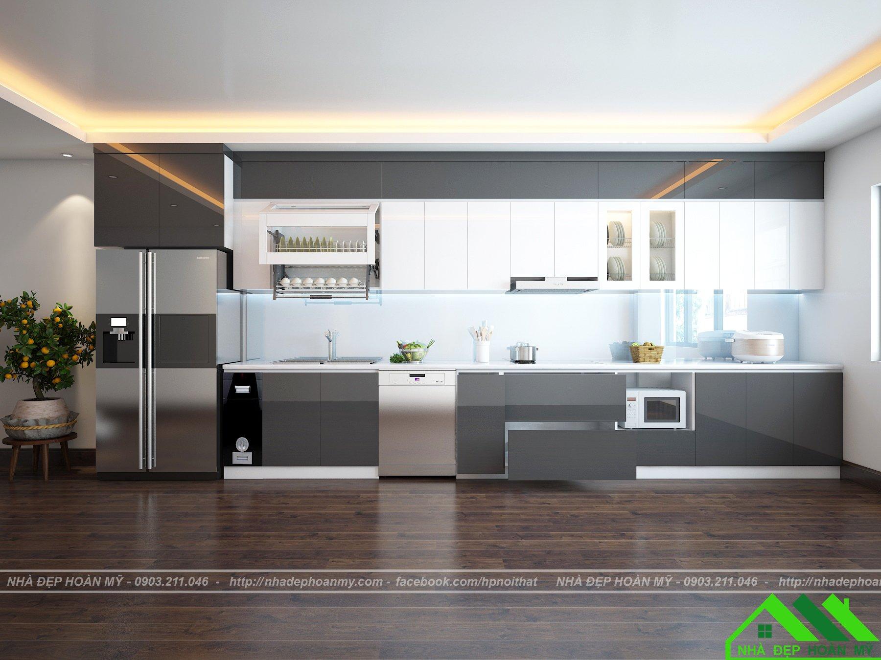 Bếp Acrylic màu trắng ghi hiện đại