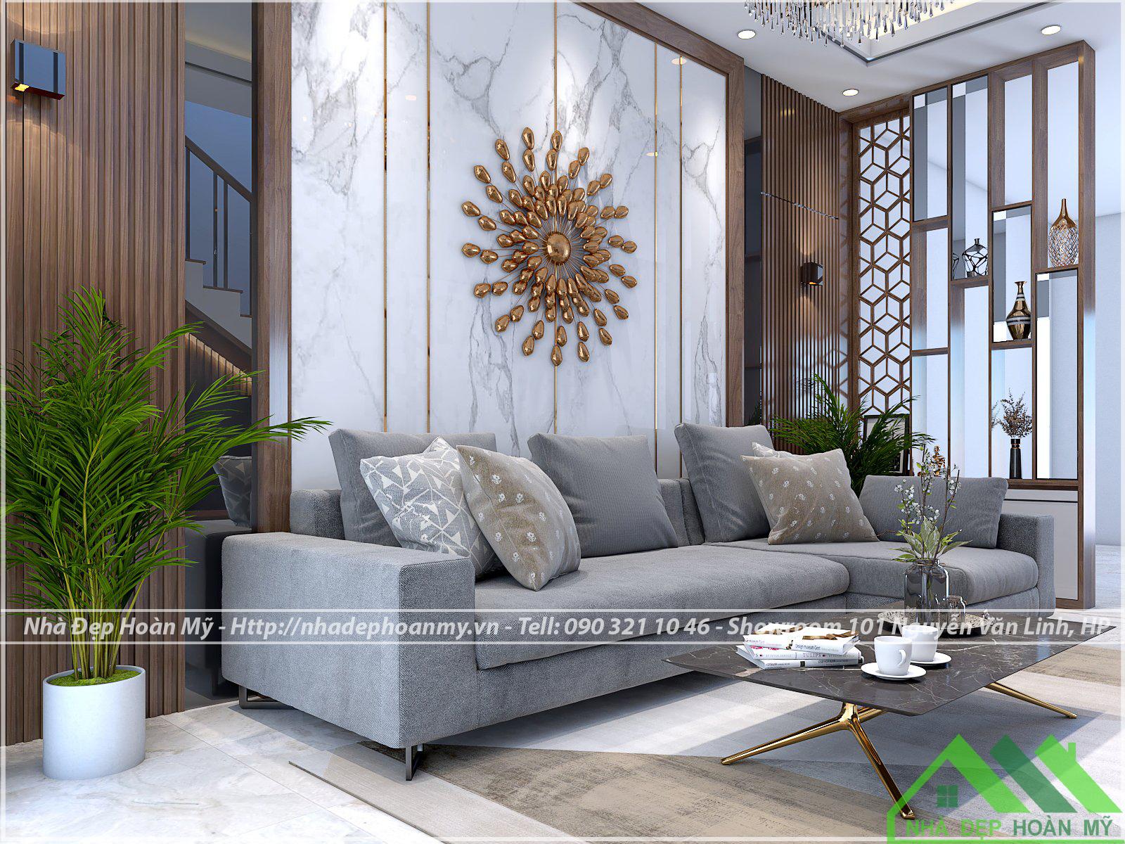 Vách phòng khách hiện đại thi công anh Nhàn - Văn Cao - Hải Phòng